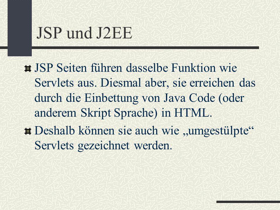 JSP und J2EE JSP Seiten führen dasselbe Funktion wie Servlets aus. Diesmal aber, sie erreichen das durch die Einbettung von Java Code (oder anderem Sk