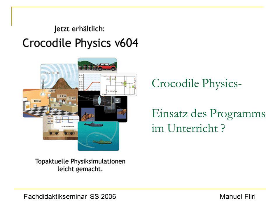 Crocodile Physics- Einsatz des Programms im Unterricht ? Fachdidaktikseminar SS 2006Manuel Fliri