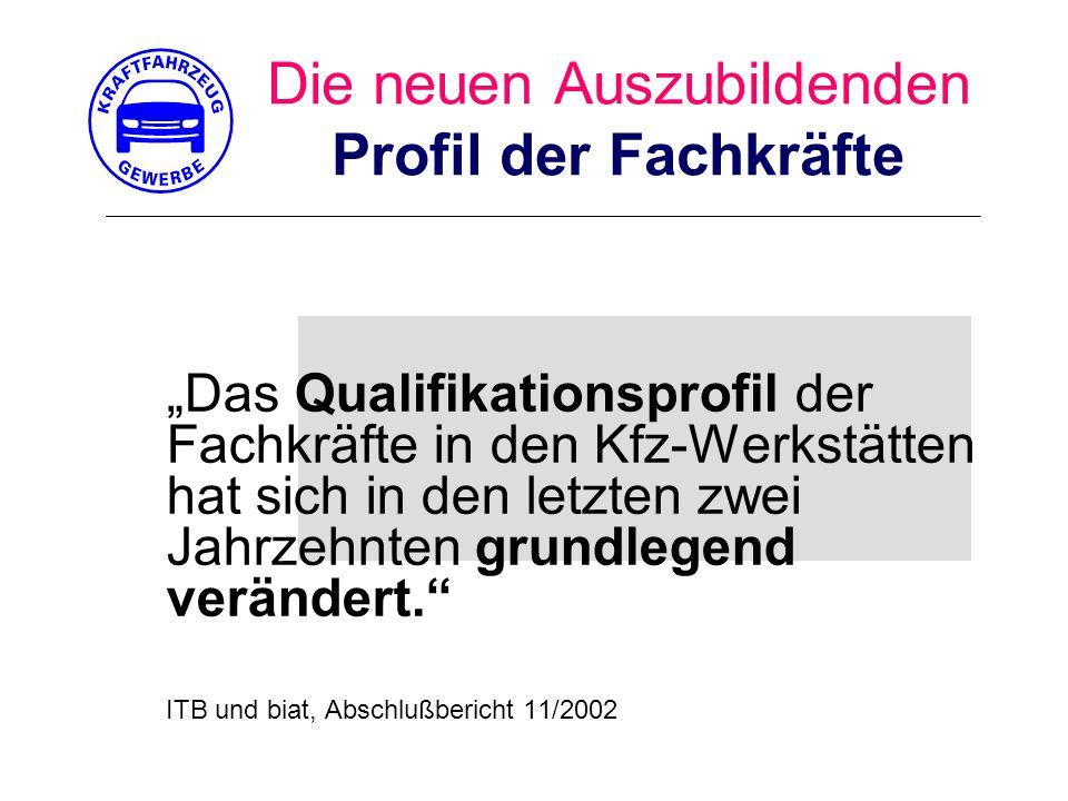 """Die neuen Auszubildenden Profil der Fachkräfte """"Das Qualifikationsprofil der Fachkräfte in den Kfz-Werkstätten hat sich in den letzten zwei Jahrzehnten grundlegend verändert. ITB und biat, Abschlußbericht 11/2002"""