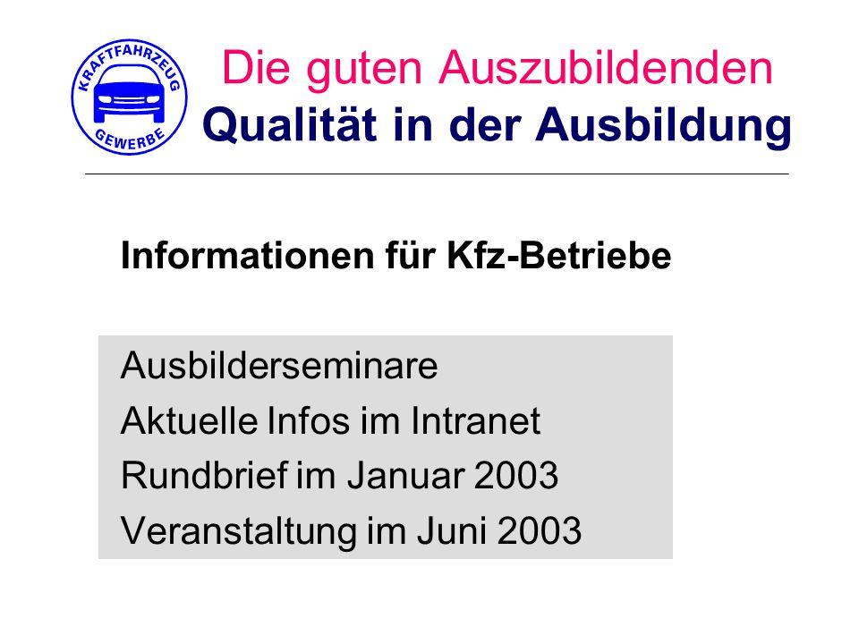 Die guten Auszubildenden Qualität in der Ausbildung Informationen für Kfz-Betriebe Ausbilderseminare Aktuelle Infos im Intranet Rundbrief im Januar 2003 Veranstaltung im Juni 2003