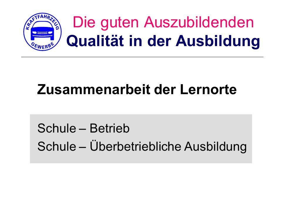 Die guten Auszubildenden Qualität in der Ausbildung Zusammenarbeit der Lernorte Schule – Betrieb Schule – Überbetriebliche Ausbildung