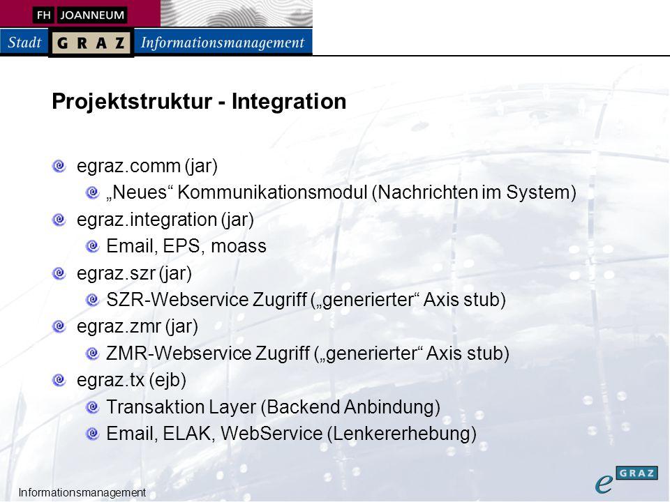 """Informationsmanagement Projektstruktur - Integration egraz.comm (jar) """"Neues Kommunikationsmodul (Nachrichten im System) egraz.integration (jar) Email, EPS, moass egraz.szr (jar) SZR-Webservice Zugriff (""""generierter Axis stub) egraz.zmr (jar) ZMR-Webservice Zugriff (""""generierter Axis stub) egraz.tx (ejb) Transaktion Layer (Backend Anbindung) Email, ELAK, WebService (Lenkererhebung)"""
