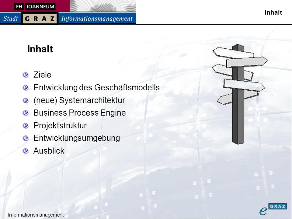 Informationsmanagement Die Ziele von 2.0 Konsolidierung der Plattform Technisch (und funktional) Neue (weiterentwickelte) Architektur Für verbesserte softwaretechnische Qualität Einführung neuer Technologien Entfernung unliebsamer Technologien Basis für eGraz eGovernet