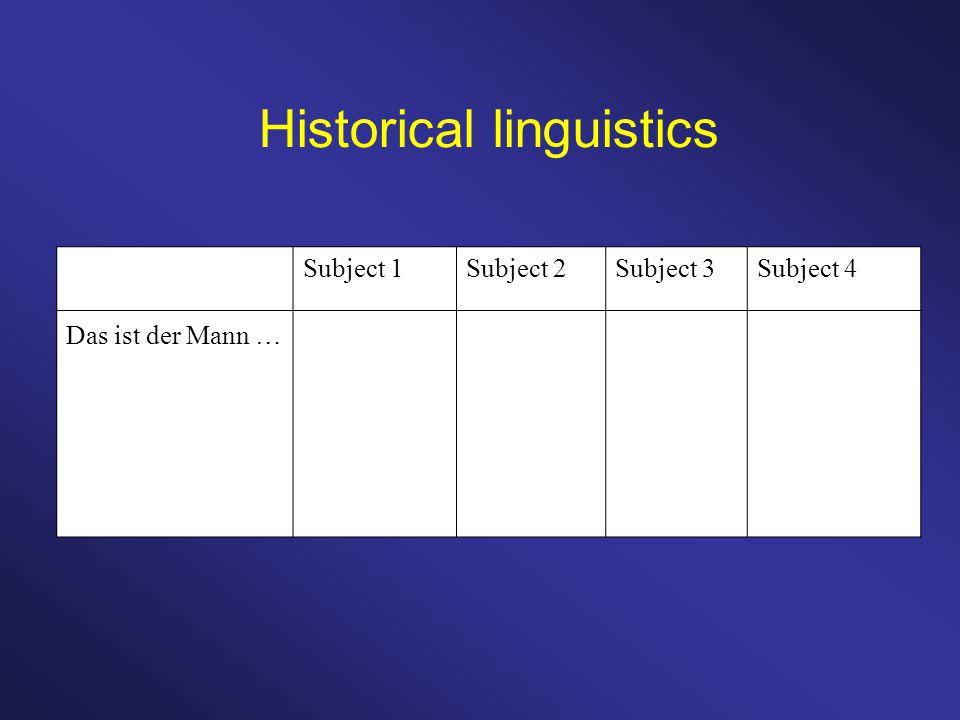 Historical linguistics Subject 1Subject 2Subject 3Subject 4 Das ist der Mann …