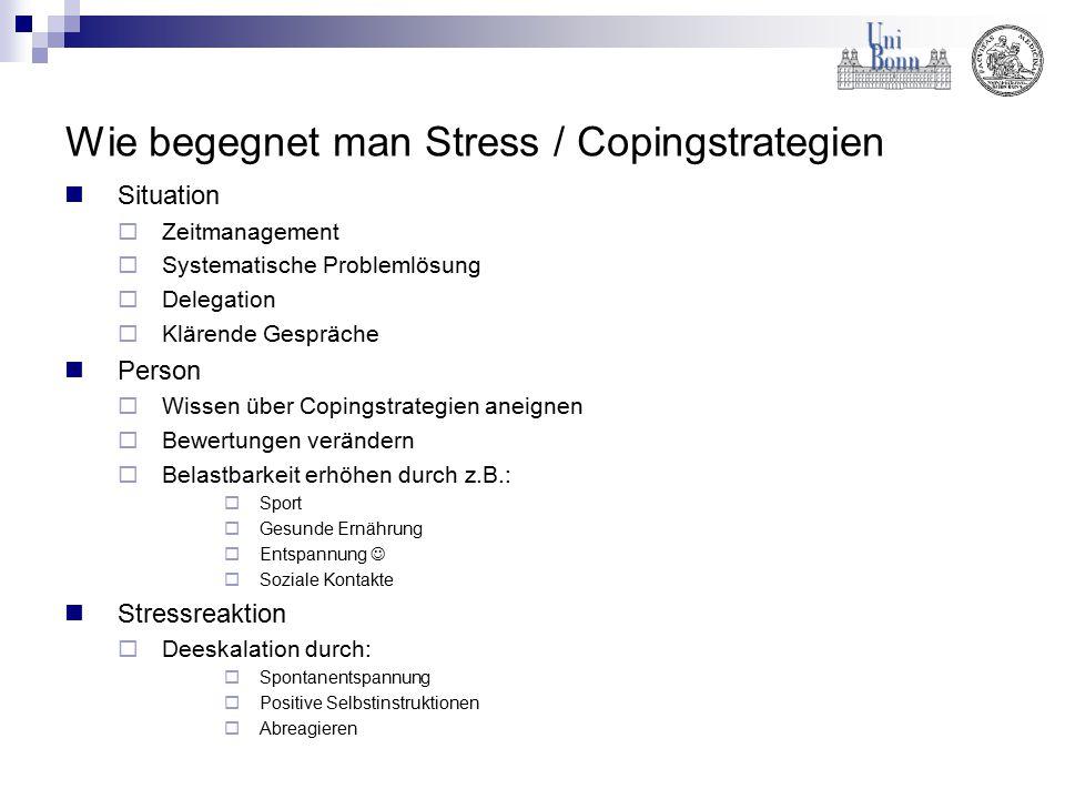 Wie begegnet man Stress / Copingstrategien Situation  Zeitmanagement  Systematische Problemlösung  Delegation  Klärende Gespräche Person  Wissen