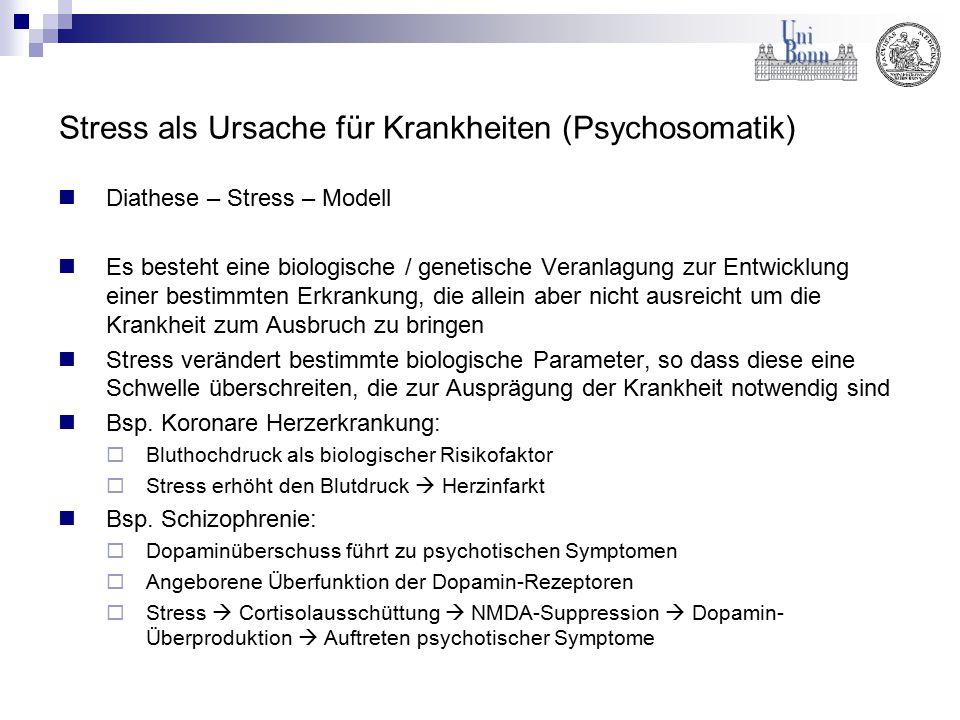Stress als Ursache für Krankheiten (Psychosomatik) Diathese – Stress – Modell Es besteht eine biologische / genetische Veranlagung zur Entwicklung ein