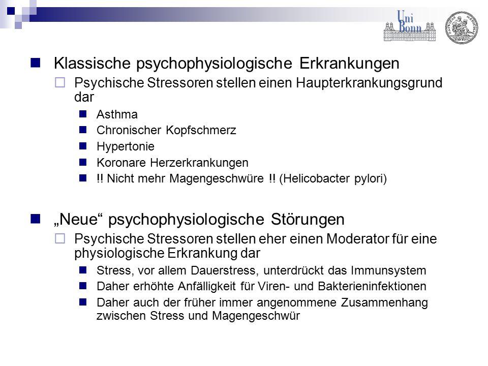 Klassische psychophysiologische Erkrankungen  Psychische Stressoren stellen einen Haupterkrankungsgrund dar Asthma Chronischer Kopfschmerz Hypertonie