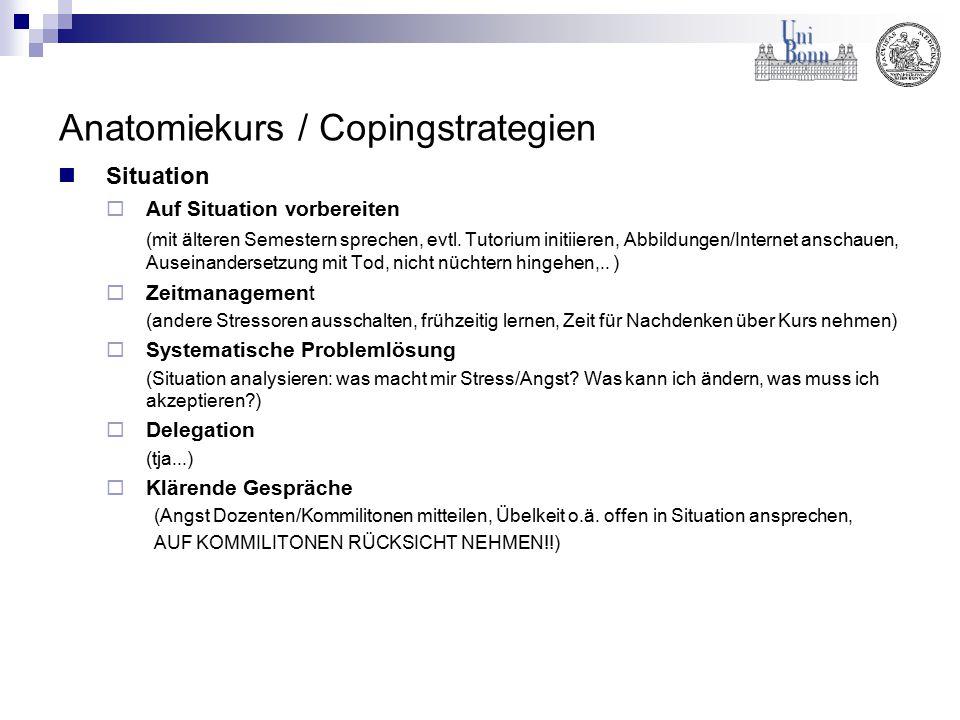 Anatomiekurs / Copingstrategien Situation  Auf Situation vorbereiten (mit älteren Semestern sprechen, evtl. Tutorium initiieren, Abbildungen/Internet