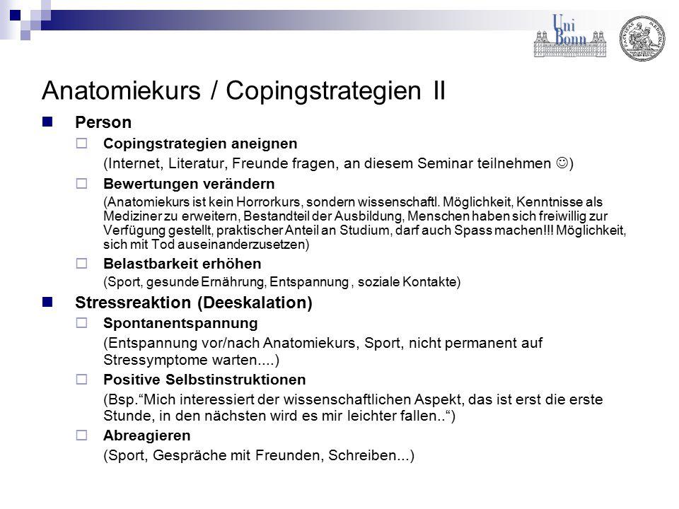 Anatomiekurs / Copingstrategien II Person  Copingstrategien aneignen (Internet, Literatur, Freunde fragen, an diesem Seminar teilnehmen )  Bewertung