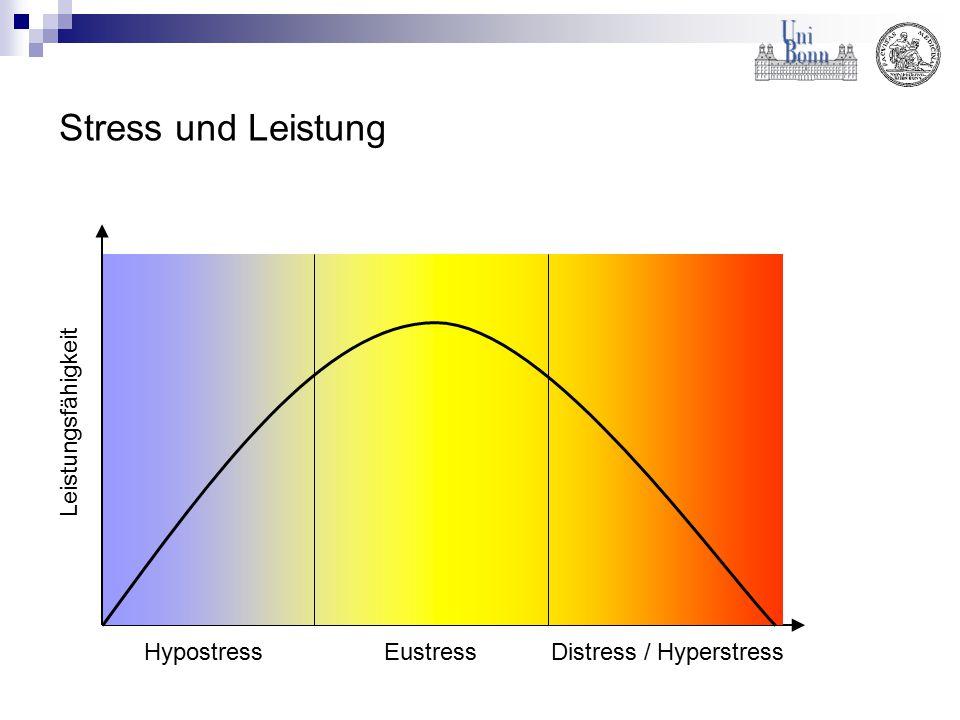 Stress und Leistung Hypostress Eustress Distress / Hyperstress Leistungsfähigkeit