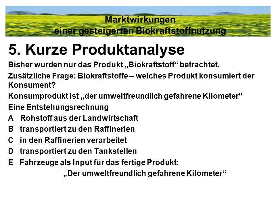 """5. Kurze Produktanalyse Bisher wurden nur das Produkt """"Biokraftstoff"""" betrachtet. Zusätzliche Frage: Biokraftstoffe – welches Produkt konsumiert der K"""