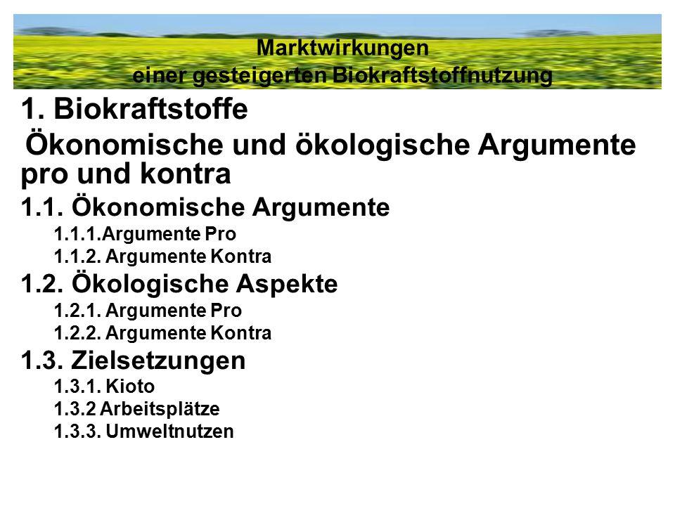 1. Biokraftstoffe Ökonomische und ökologische Argumente pro und kontra 1.1. Ökonomische Argumente 1.1.1.Argumente Pro 1.1.2. Argumente Kontra 1.2. Öko