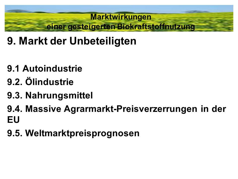 9. Markt der Unbeteiligten 9.1 Autoindustrie 9.2. Ölindustrie 9.3. Nahrungsmittel 9.4. Massive Agrarmarkt-Preisverzerrungen in der EU 9.5. Weltmarktpr