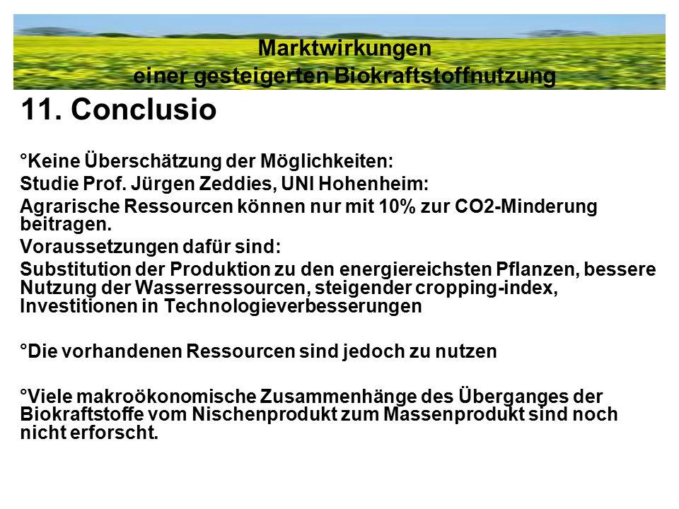 11. Conclusio °Keine Überschätzung der Möglichkeiten: Studie Prof. Jürgen Zeddies, UNI Hohenheim: Agrarische Ressourcen können nur mit 10% zur CO2-Min