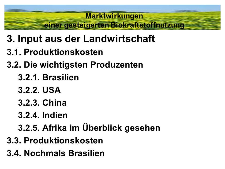 3. Input aus der Landwirtschaft 3.1. Produktionskosten 3.2. Die wichtigsten Produzenten 3.2.1. Brasilien 3.2.2. USA 3.2.3. China 3.2.4. Indien 3.2.5.