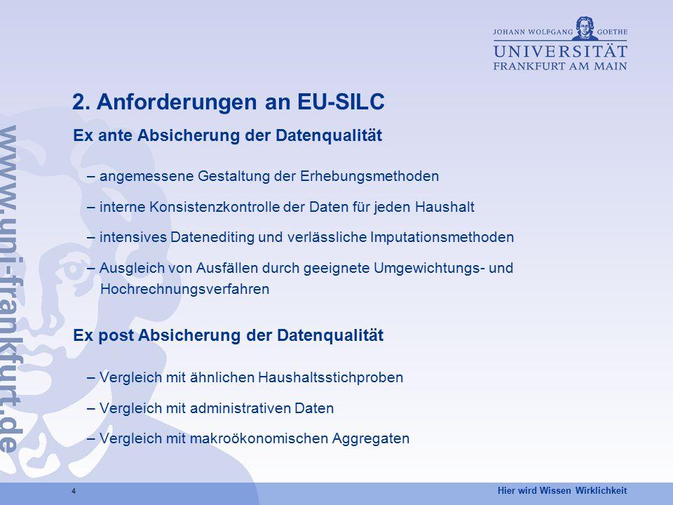 Hier wird Wissen Wirklichkeit 4 2. Anforderungen an EU-SILC Ex ante Absicherung der Datenqualität – angemessene Gestaltung der Erhebungsmethoden – int
