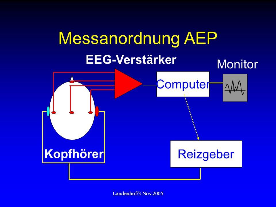 Messanordnung AEP Kopfhörer Reizgeber Computer Monitor EEG-Verstärker