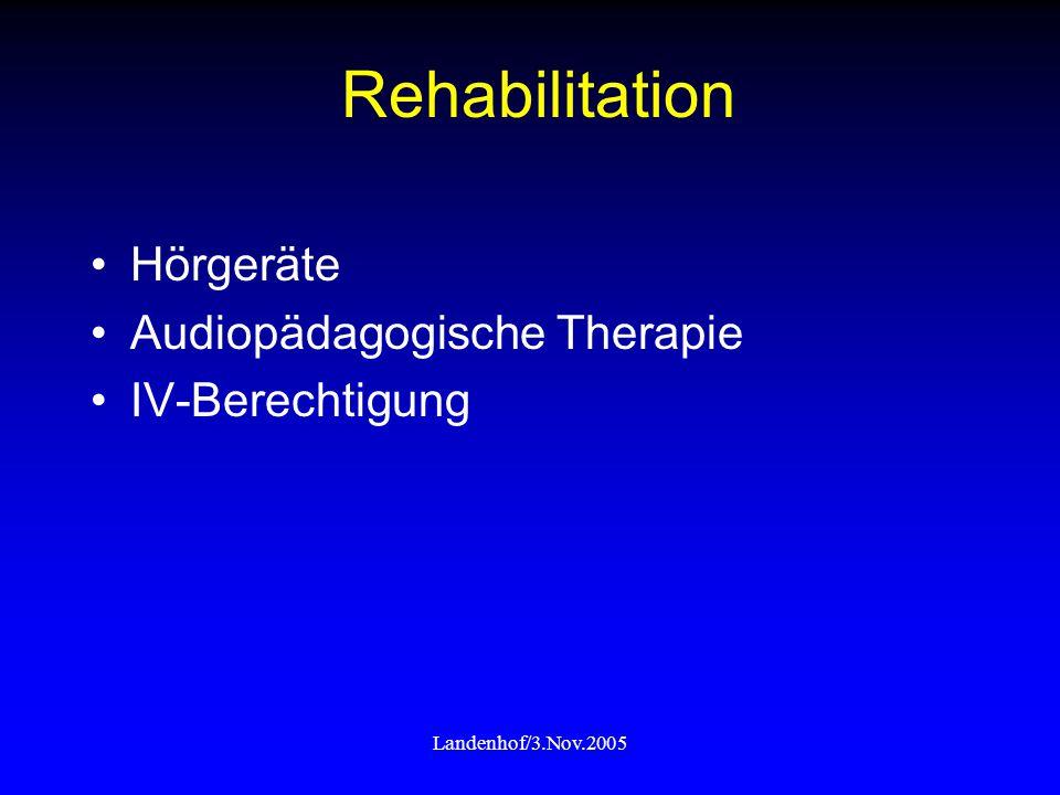 Landenhof/3.Nov.2005 Rehabilitation Hörgeräte Audiopädagogische Therapie IV-Berechtigung