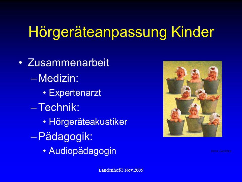 Landenhof/3.Nov.2005 Hörgeräteanpassung Kinder Zusammenarbeit –Medizin: Expertenarzt –Technik: Hörgeräteakustiker –Pädagogik: Audiopädagogin Anne Gedd