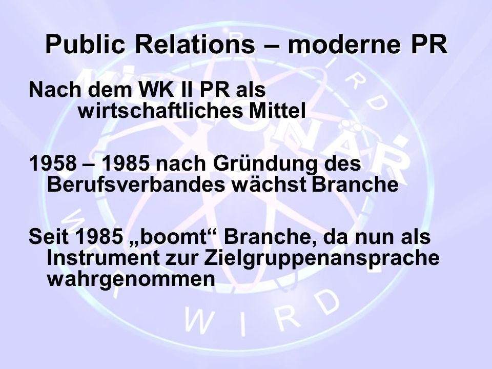 """Public Relations – moderne PR Nach dem WK II PR als wirtschaftliches Mittel 1958 – 1985 nach Gründung des Berufsverbandes wächst Branche Seit 1985 """"bo"""