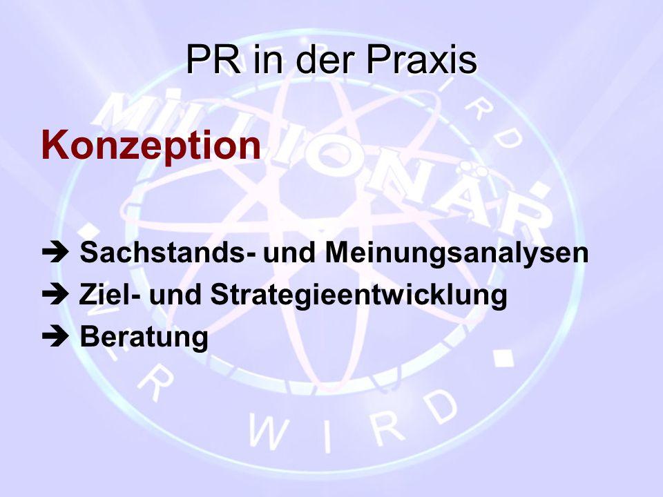 PR in der Praxis Konzeption  Sachstands- und Meinungsanalysen  Ziel- und Strategieentwicklung  Beratung