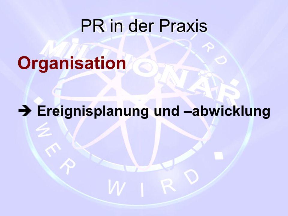 PR in der Praxis Organisation  Ereignisplanung und –abwicklung