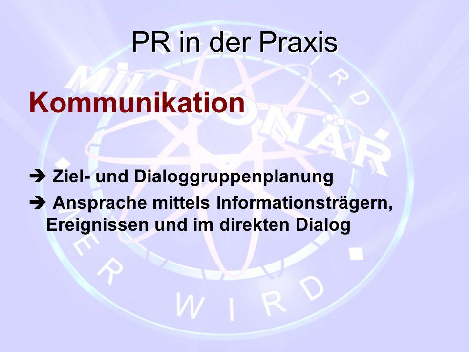 PR in der Praxis Kommunikation  Ziel- und Dialoggruppenplanung  Ansprache mittels Informationsträgern, Ereignissen und im direkten Dialog
