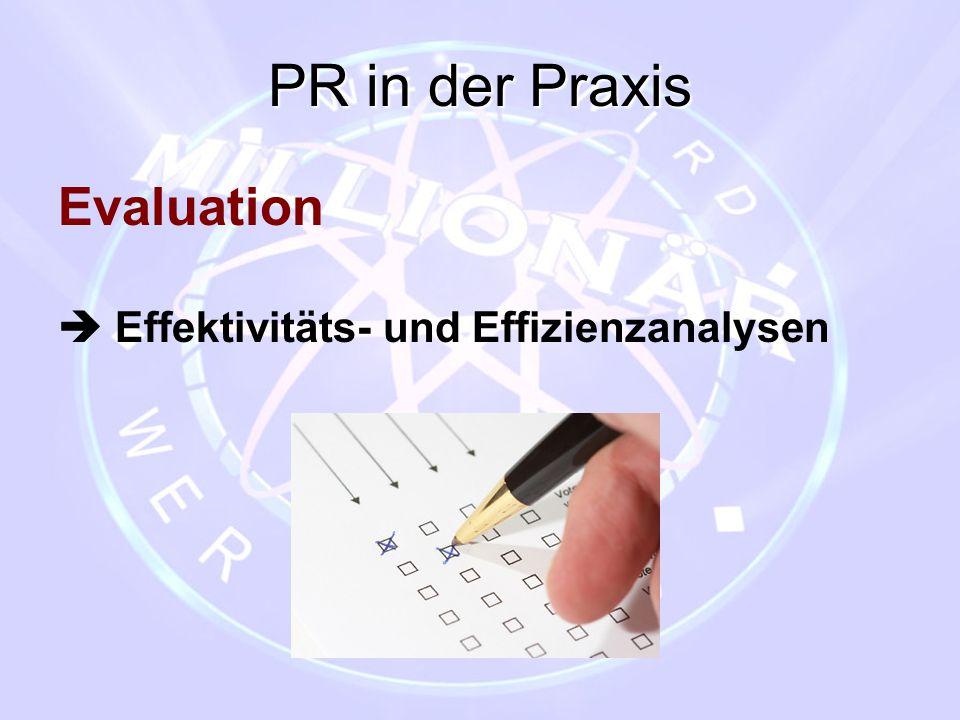 PR in der Praxis Evaluation  Effektivitäts- und Effizienzanalysen