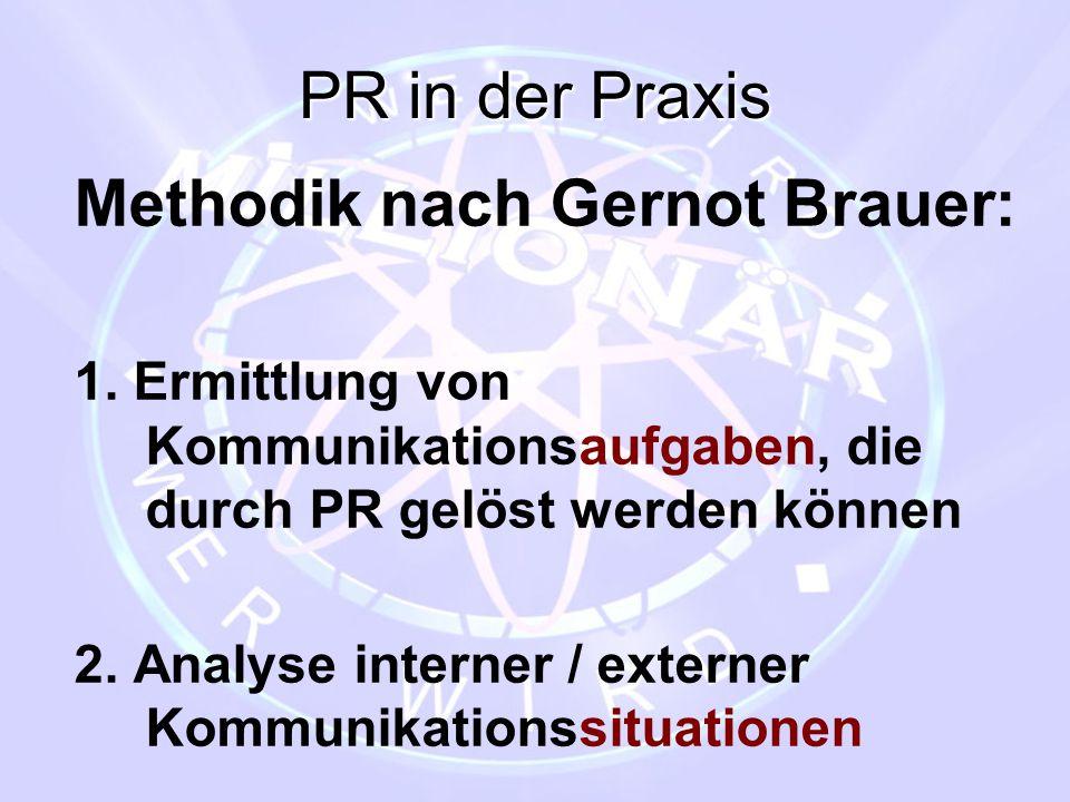 PR in der Praxis Methodik nach Gernot Brauer: 1. Ermittlung von Kommunikationsaufgaben, die durch PR gelöst werden können 2. Analyse interner / extern