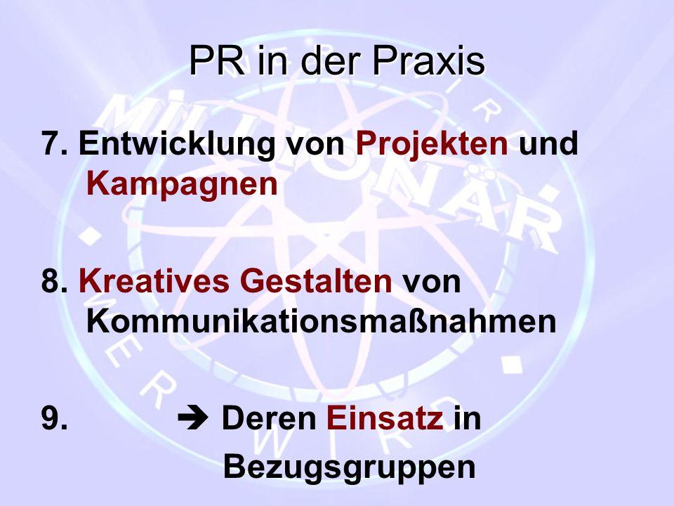 PR in der Praxis 7. Entwicklung von Projekten und Kampagnen 8. Kreatives Gestalten von Kommunikationsmaßnahmen 9.  Deren Einsatz in Bezugsgruppen