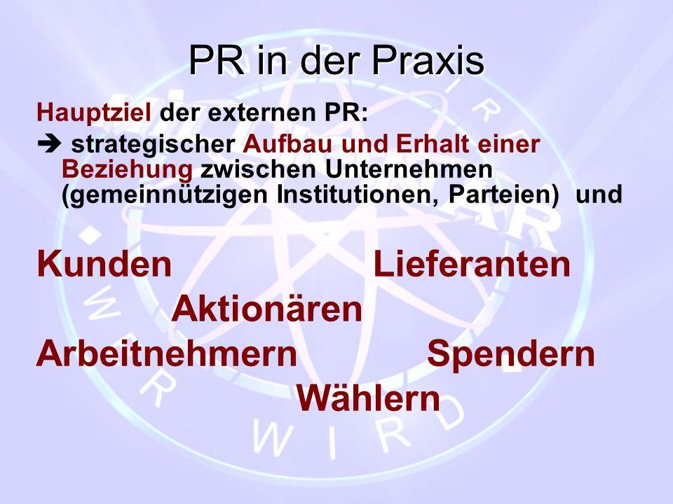 PR in der Praxis Hauptziel der externen PR:  strategischer Aufbau und Erhalt einer Beziehung zwischen Unternehmen (gemeinnützigen Institutionen, Part