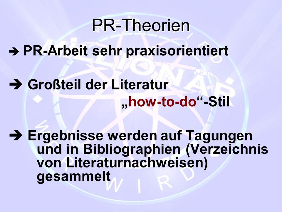 """PR-Theorien  PR-Arbeit sehr praxisorientiert  Großteil der Literatur """"how-to-do""""-Stil  Ergebnisse werden auf Tagungen und in Bibliographien (Verzei"""