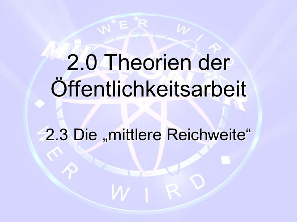 """2.0 Theorien der Öffentlichkeitsarbeit 2.3 Die """"mittlere Reichweite"""""""