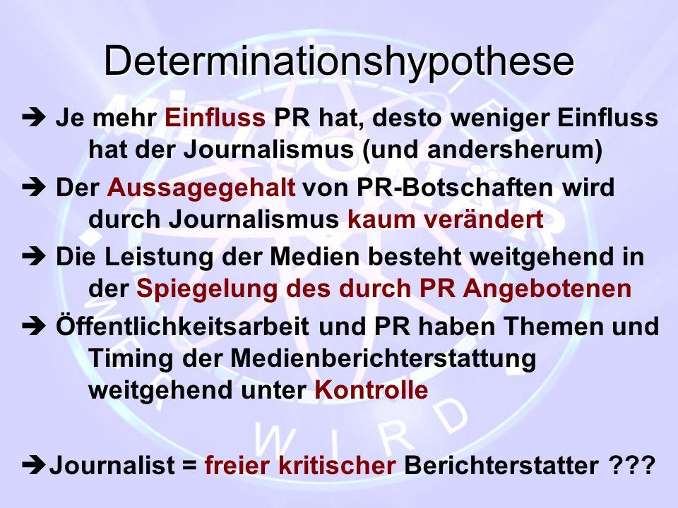 Determinationshypothese  Je mehr Einfluss PR hat, desto weniger Einfluss hat der Journalismus (und andersherum)  Der Aussagegehalt von PR-Botschafte