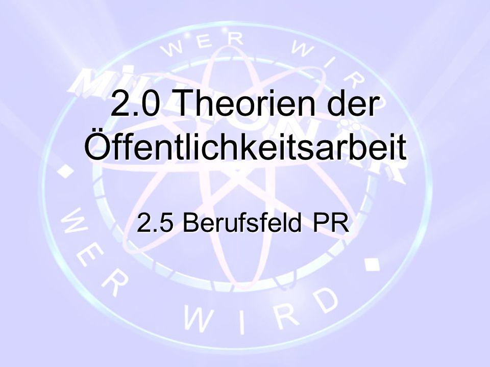 2.0 Theorien der Öffentlichkeitsarbeit 2.5 Berufsfeld PR