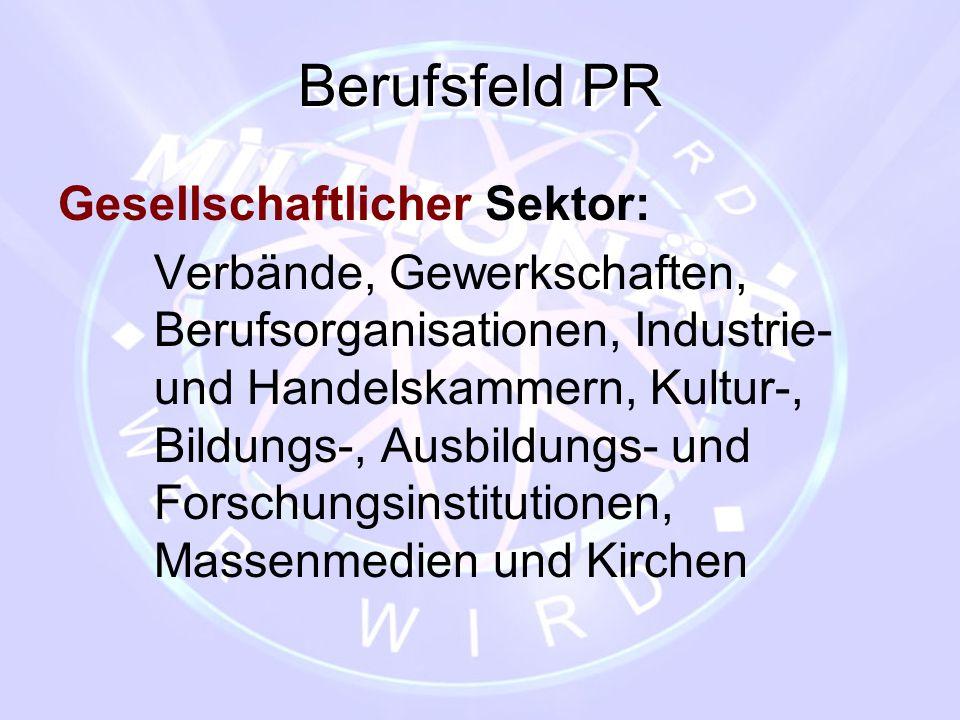 Berufsfeld PR Gesellschaftlicher Sektor: Verbände, Gewerkschaften, Berufsorganisationen, Industrie- und Handelskammern, Kultur-, Bildungs-, Ausbildung
