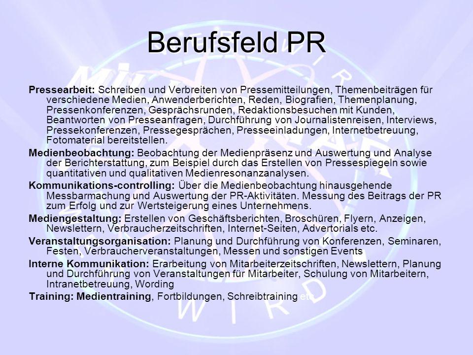Berufsfeld PR Pressearbeit: Schreiben und Verbreiten von Pressemitteilungen, Themenbeiträgen für verschiedene Medien, Anwenderberichten, Reden, Biogra