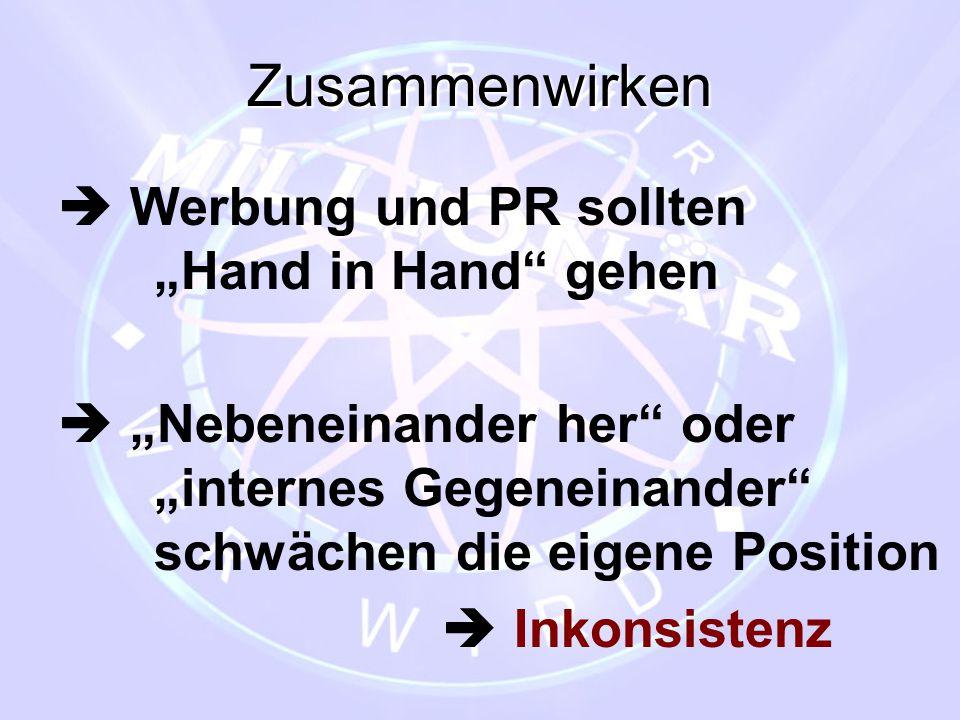 """Zusammenwirken  Werbung und PR sollten """"Hand in Hand"""" gehen  """"Nebeneinander her"""" oder """"internes Gegeneinander"""" schwächen die eigene Position  Inkon"""