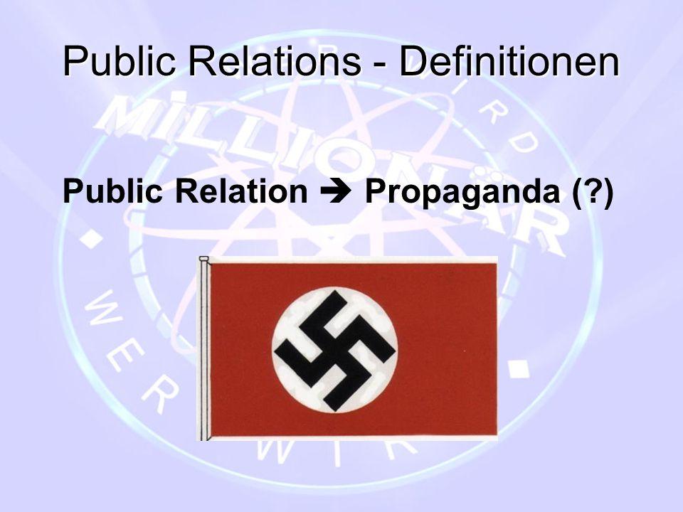 Public Relations - Definitionen Public Relation  Propaganda Public Relation  Öffentlichkeitsarbeit (1917)