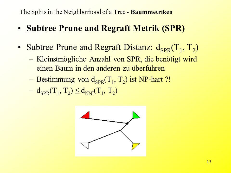 13 The Splits in the Neighborhood of a Tree - Baummetriken Subtree Prune and Regraft Metrik (SPR) Subtree Prune and Regraft Distanz: d SPR (T 1, T 2 ) –Kleinstmögliche Anzahl von SPR, die benötigt wird einen Baum in den anderen zu überführen –Bestimmung von d SPR (T 1, T 2 ) ist NP-hart .