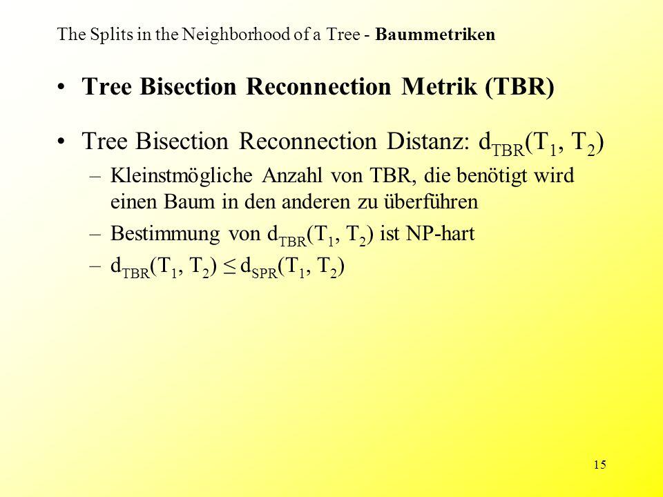 15 The Splits in the Neighborhood of a Tree - Baummetriken Tree Bisection Reconnection Metrik (TBR) Tree Bisection Reconnection Distanz: d TBR (T 1, T