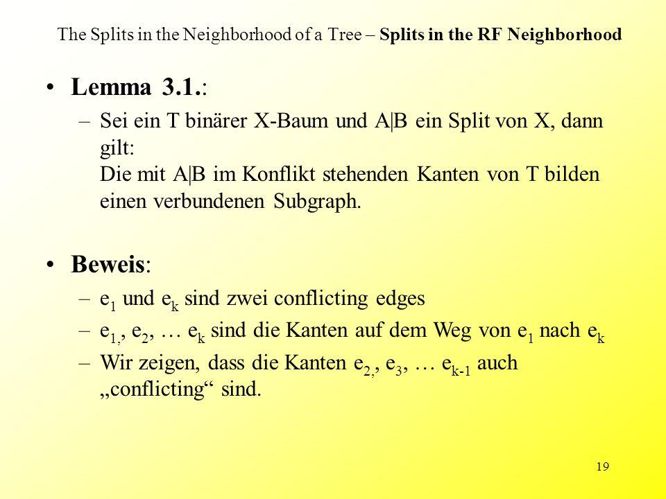 19 The Splits in the Neighborhood of a Tree – Splits in the RF Neighborhood Lemma 3.1.: –Sei ein T binärer X-Baum und A|B ein Split von X, dann gilt: