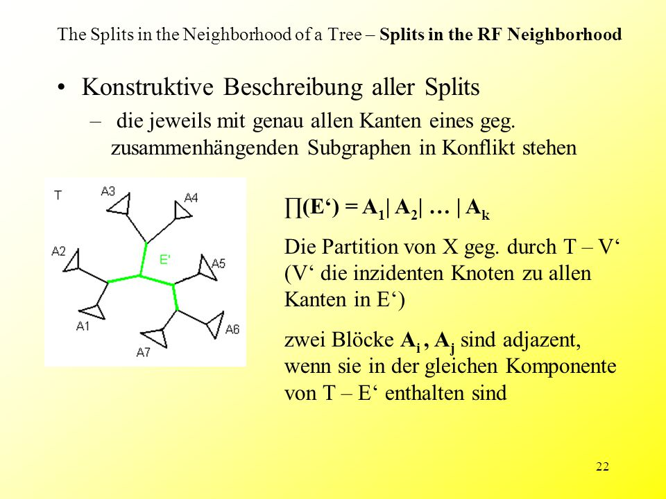 22 The Splits in the Neighborhood of a Tree – Splits in the RF Neighborhood Konstruktive Beschreibung aller Splits – die jeweils mit genau allen Kanten eines geg.
