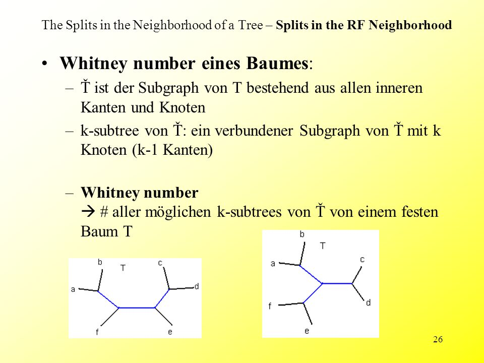 26 The Splits in the Neighborhood of a Tree – Splits in the RF Neighborhood Whitney number eines Baumes: –Ť ist der Subgraph von T bestehend aus allen inneren Kanten und Knoten –k-subtree von Ť: ein verbundener Subgraph von Ť mit k Knoten (k-1 Kanten) –Whitney number  # aller möglichen k-subtrees von Ť von einem festen Baum T