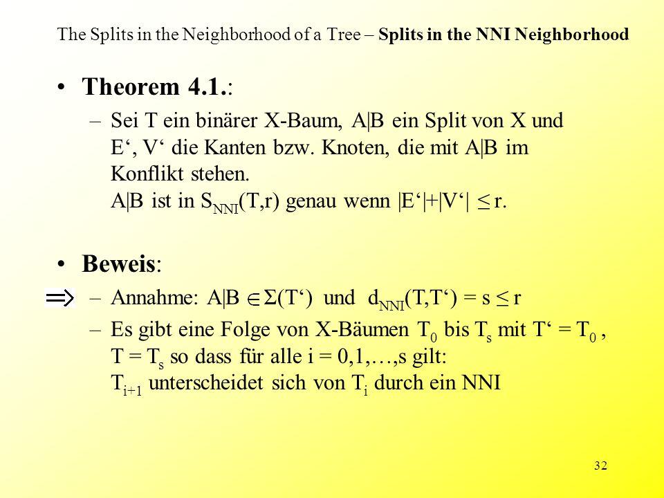 32 The Splits in the Neighborhood of a Tree – Splits in the NNI Neighborhood Theorem 4.1.: –Sei T ein binärer X-Baum, A|B ein Split von X und E', V' die Kanten bzw.