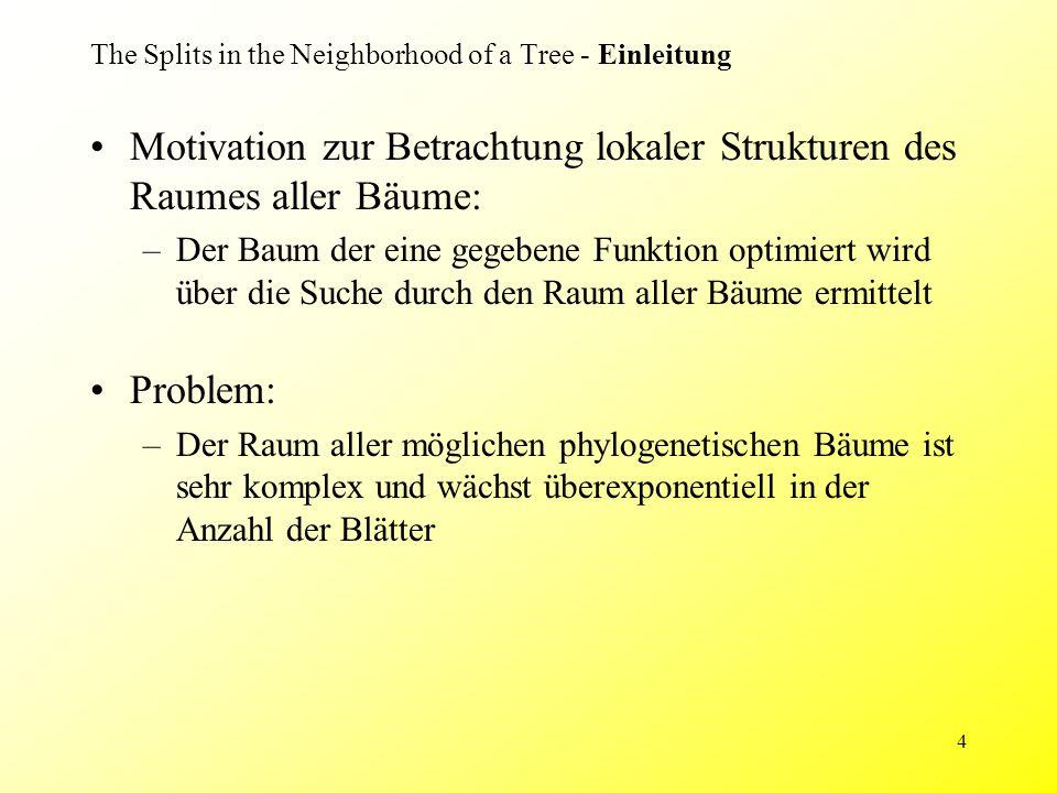 4 The Splits in the Neighborhood of a Tree - Einleitung Motivation zur Betrachtung lokaler Strukturen des Raumes aller Bäume: –Der Baum der eine gegebene Funktion optimiert wird über die Suche durch den Raum aller Bäume ermittelt Problem: –Der Raum aller möglichen phylogenetischen Bäume ist sehr komplex und wächst überexponentiell in der Anzahl der Blätter