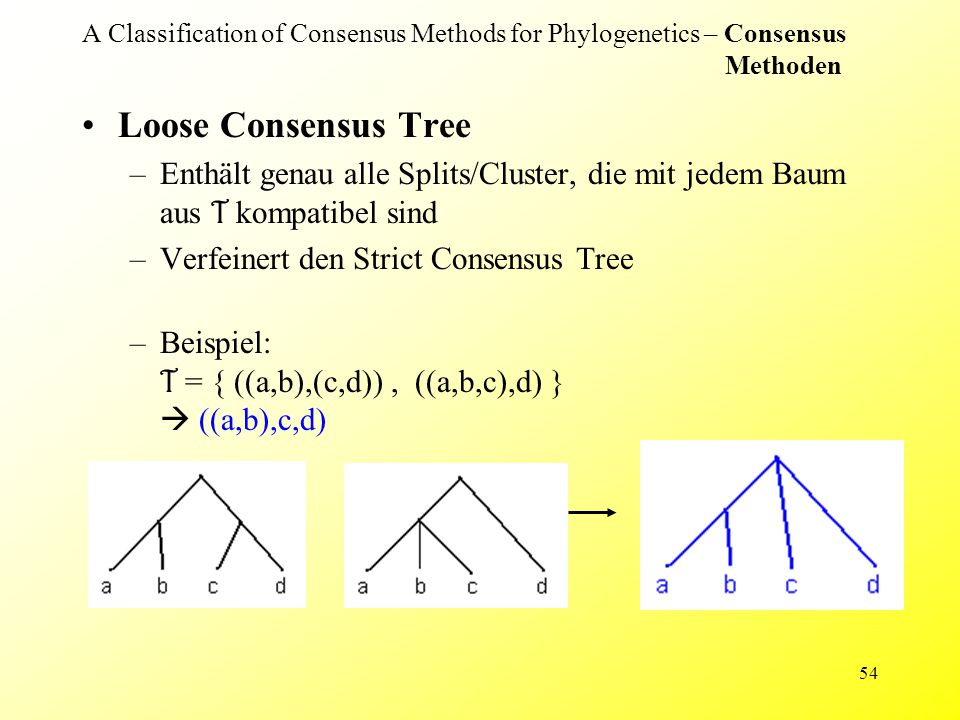 54 A Classification of Consensus Methods for Phylogenetics – Consensus Methoden Loose Consensus Tree –Enthält genau alle Splits/Cluster, die mit jedem