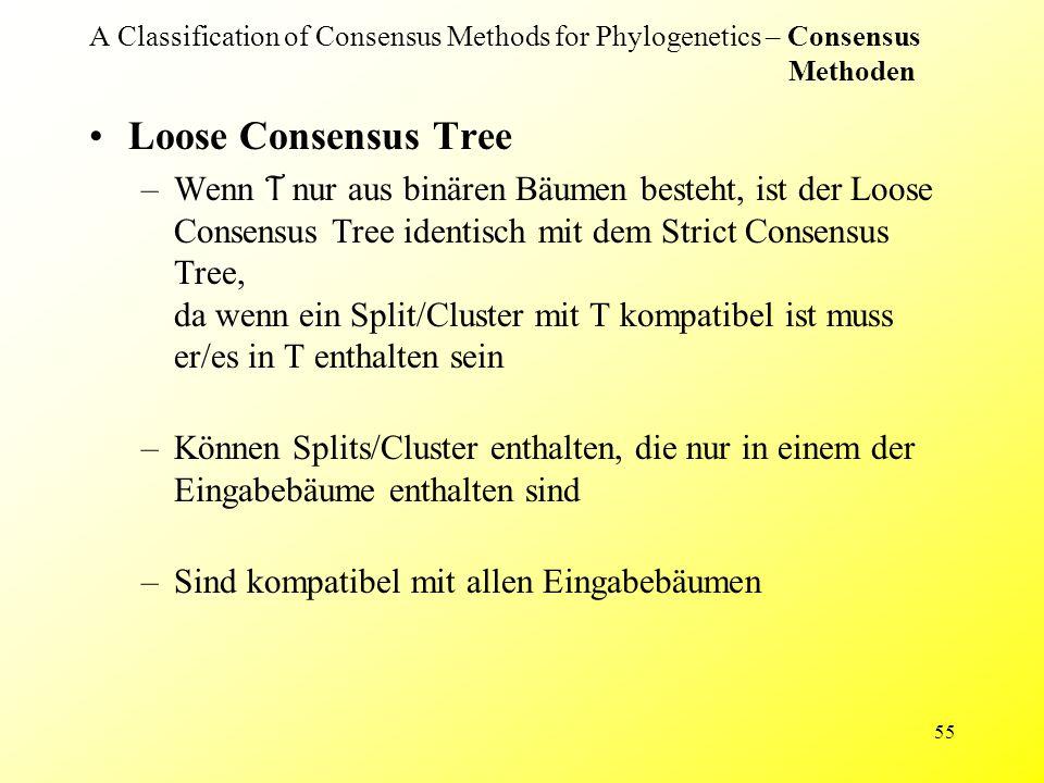 55 A Classification of Consensus Methods for Phylogenetics – Consensus Methoden Loose Consensus Tree –Wenn T nur aus binären Bäumen besteht, ist der Loose Consensus Tree identisch mit dem Strict Consensus Tree, da wenn ein Split/Cluster mit T kompatibel ist muss er/es in T enthalten sein –Können Splits/Cluster enthalten, die nur in einem der Eingabebäume enthalten sind –Sind kompatibel mit allen Eingabebäumen