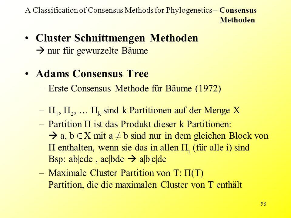 58 A Classification of Consensus Methods for Phylogenetics – Consensus Methoden Cluster Schnittmengen Methoden  nur für gewurzelte Bäume Adams Consensus Tree –Erste Consensus Methode für Bäume (1972) –П 1, П 2, … П k sind k Partitionen auf der Menge X –Partition П ist das Produkt dieser k Partitionen:  a, b X mit a ≠ b sind nur in dem gleichen Block von П enthalten, wenn sie das in allen П i (für alle i) sind Bsp: ab|cde, ac|bde  a|b|c|de –Maximale Cluster Partition von T: П(T) Partition, die die maximalen Cluster von T enthält