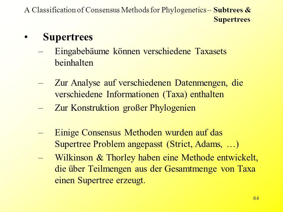 64 A Classification of Consensus Methods for Phylogenetics – Subtrees & Supertrees Supertrees –Eingabebäume können verschiedene Taxasets beinhalten –Z